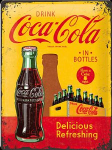 Coca Cola In Bottles (crate) large embossed steel sign    (na 4030)
